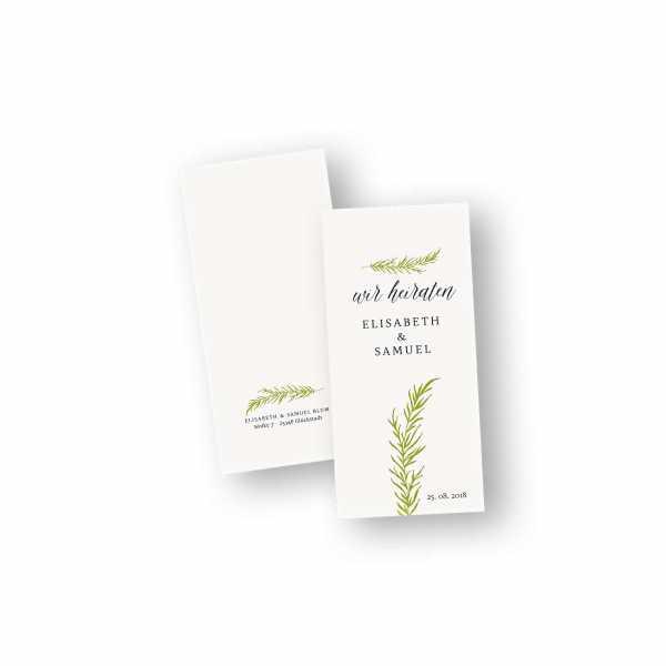 Einladungskarten – Klappkarte – DIN-lang im Hochformat mit Kopffalz mit dem Design Hochzeitszweig
