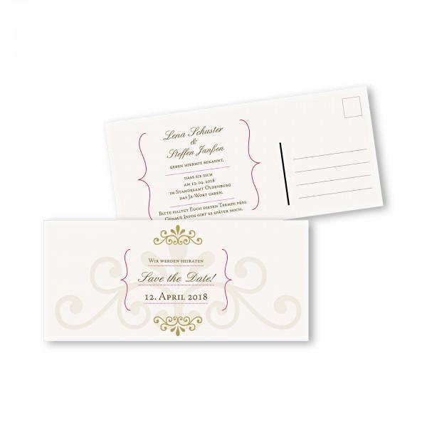 Save the Date Postkarte – 2-Seiter DIN-lang Kartendesign Princess