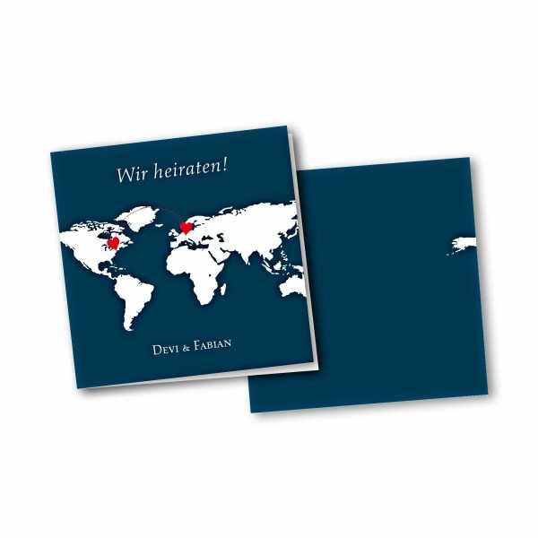 Einladungskarte – 4-Seiter quadratisch Kartendesign Herzentreffen Version 2