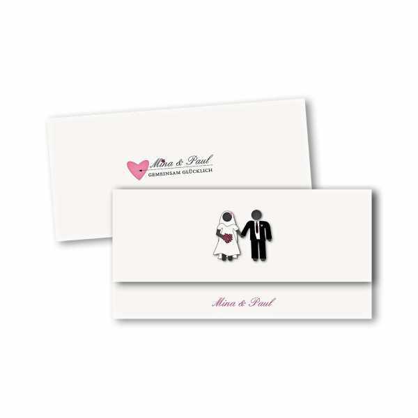 Einladungskarte – asymmetrische Klappkarte DIN-lang im Kartendesign Traumpaar - Wir heiraten