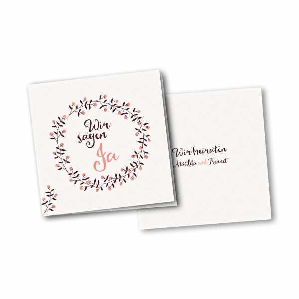 Einladungskarte – 4-Seiter quadratisch Kartendesign Save the Date - Blumenkranz