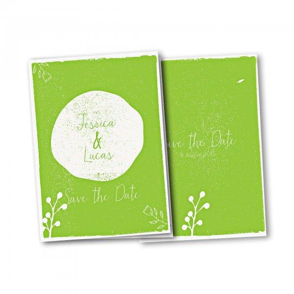 Einladungskarte – 4-Seiter DIN-A5 Kartendesign Retro Hochzeit Version 2