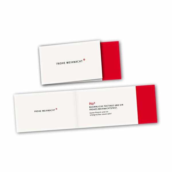 Weihnachtskarte – asymmetrische Klappkarte DIN-lang mit Rückenfalz im Kartendesign Frohe Weihnacht rotweiß