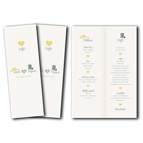 Menükarte – Kartendesign Dresscode Hochzeit