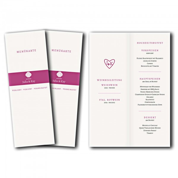 Menükarte – Kartendesign Verliebt Verlobt Verheiratet Version 1