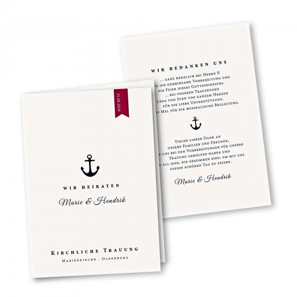 Kirchenheft 4 Seiter – Klappkarte DIN-A5 Kartendesign Anker und roter Wimpel