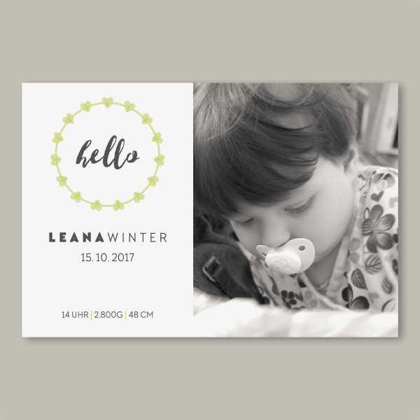 Geburtskarte – flache Karte mit Umschlag – 2-Seiter flache Karte zur Geburt in der Größe DIN-A6 Querformat mit dem Design Leana
