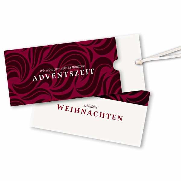Weihnachtskarte – Schuberkarte DIN-lang mit Satinband Weihnachtskarte mit Wirbeln