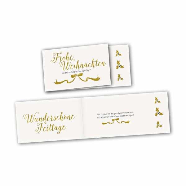 Weihnachtskarte – asymmetrische Klappkarte DIN-lang mit Rückenfalz im Kartendesign Weihnachtskarte mit Schleife