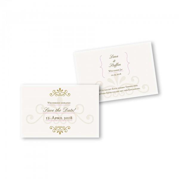 Save the Date flache Karte mit Umschlag – 2-Seiter DIN-A6 Kartendesign Princess