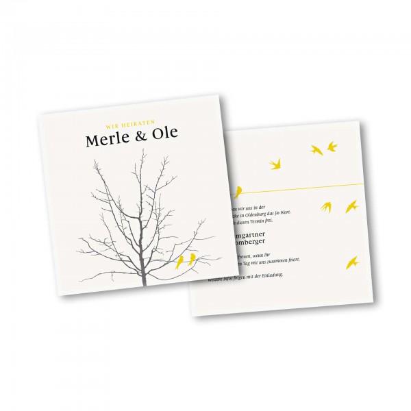 Save the Date Karte – 2-Seiter quadratisch Kartendesign Verliebte Vögel im Baum