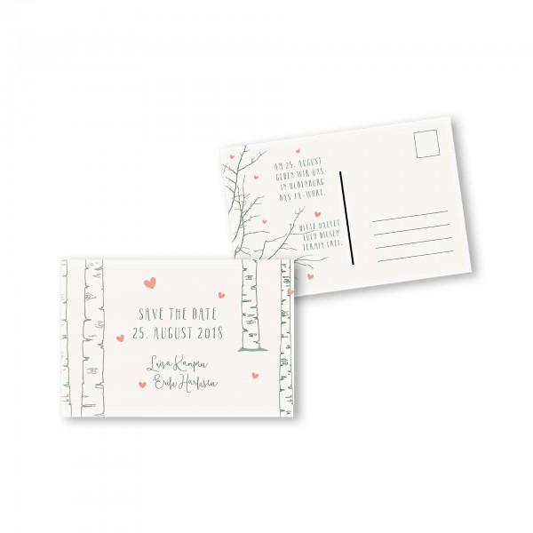 Save the Date Postkarte – 2-Seiter DIN-A6 Kartendesign Verliebt unter Birken