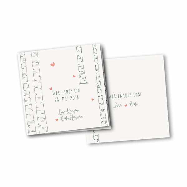 Einladungskarte – 4-Seiter quadratisch Kartendesign Verliebt unter Birken