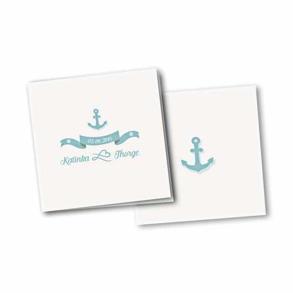 Einladungskarte – 4-Seiter quadratisch Kartendesign Anker mit Schleife und Schraffur
