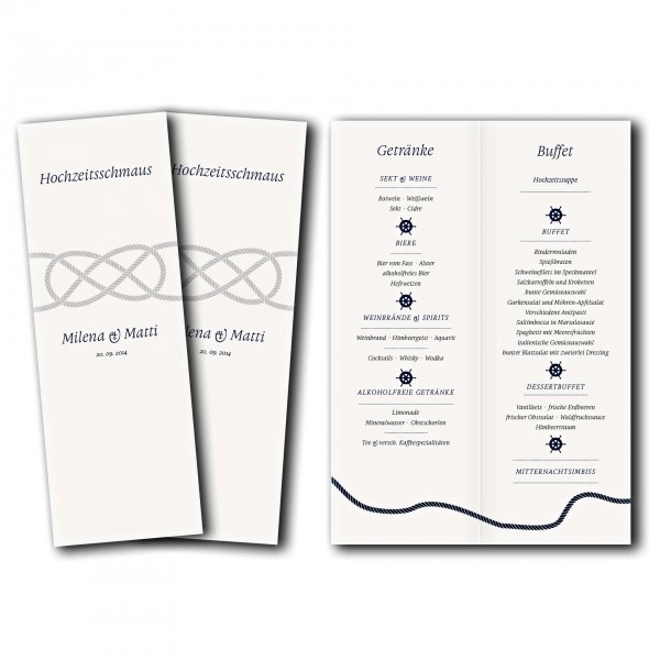 Menükarte – Kartendesign Kreuzknoten - maritime Hochzeitskarte