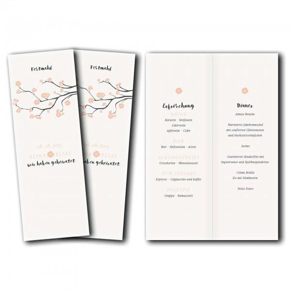 Menükarte – Kartendesign Baumblüte Version2