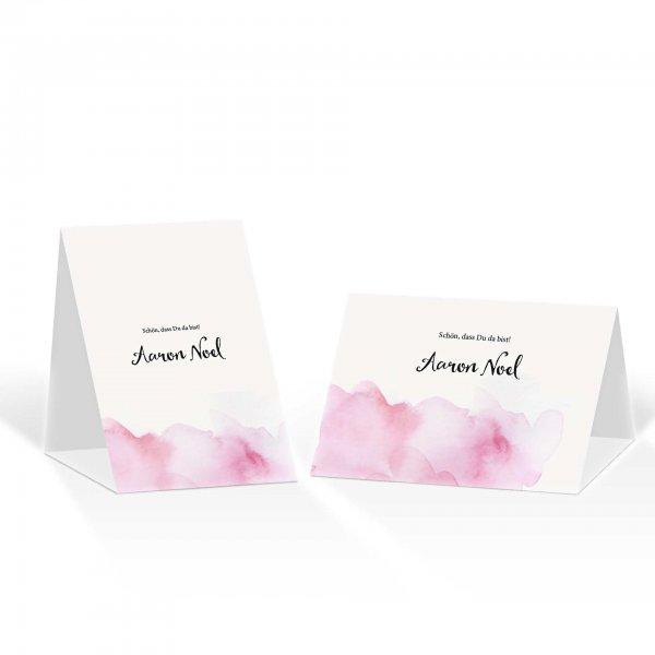 Platzkarte Aufsteller A6 – Kartendesign Rosa Wolken - Wir heiraten