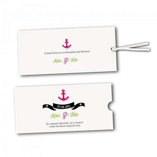 Schuberkarte - Kartendesign Anker mit Schleife und Schraffur Version 2