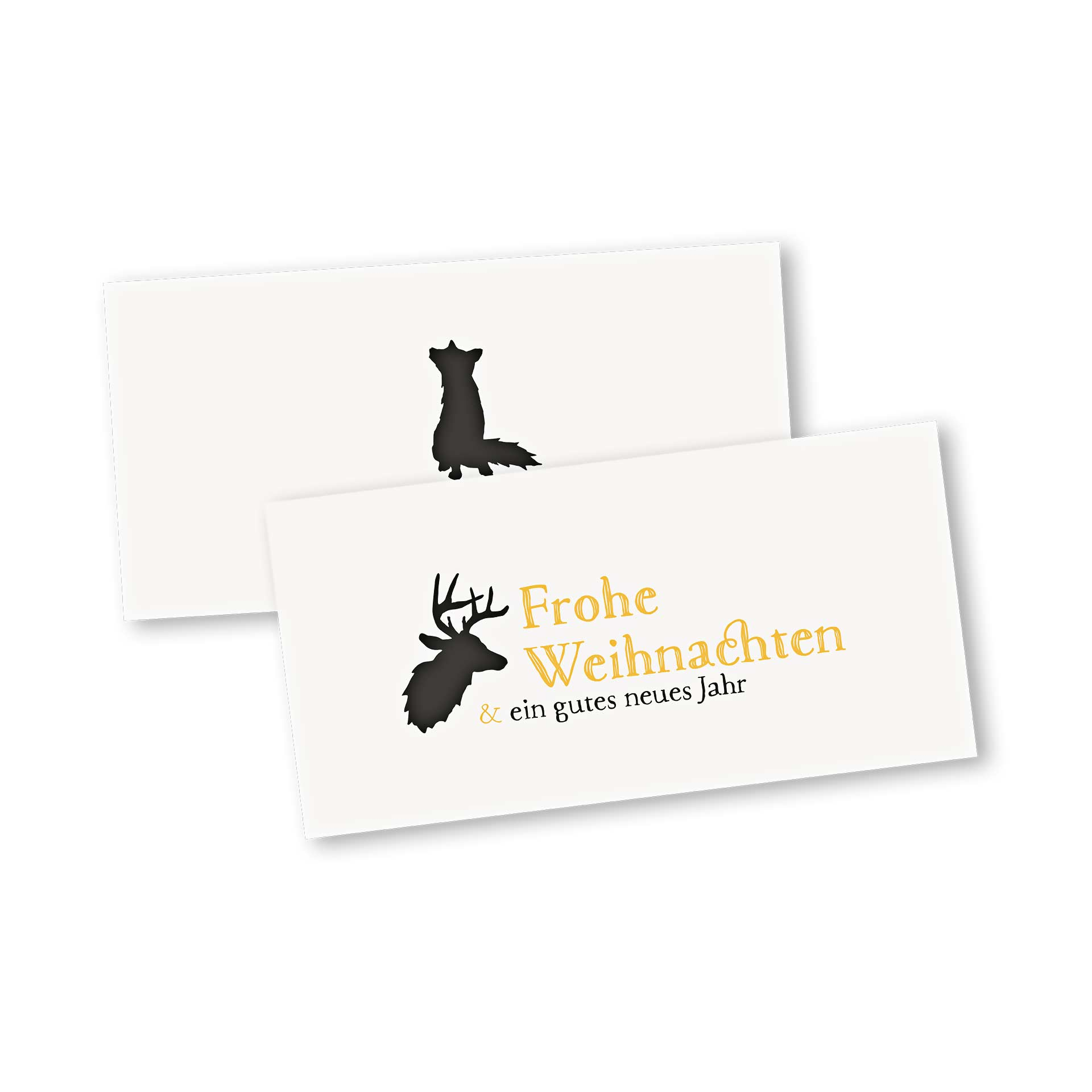 Weihnachtskarte Klappkarte im Design Rentier und Fuchs zu Weihnachten