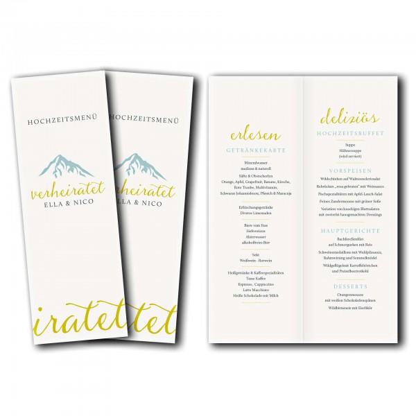 Menükarte – Kartendesign Hochzeitsfeier in den Bergen Version 3