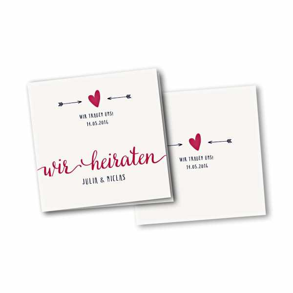 Einladungskarte – 4-Seiter quadratisch Kartendesign Amor trifft