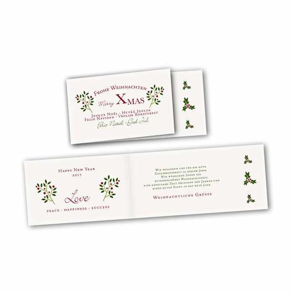 Weihnachtskarte – asymmetrische Klappkarte DIN-lang mit Rückenfalz im Kartendesign Weihnachtszweig rot