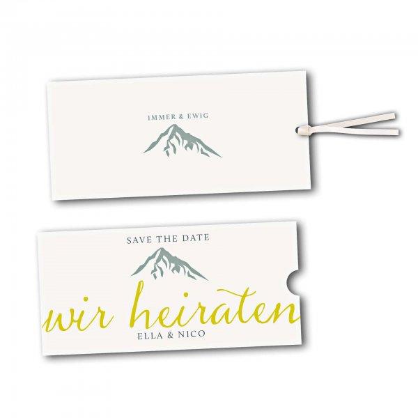 Schuberkarte - Kartendesign Hochzeitsfeier in den Bergen Version 2