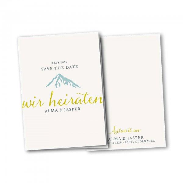 Einladungskarte – 4-Seiter DIN-A5 Kartendesign Hochzeitsfeier in den Bergen Version 3