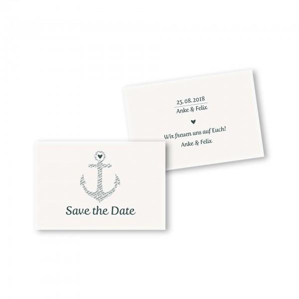 Save the Date flache Karte mit Umschlag – 2-Seiter DIN-A6 Kartendesign Anker kombiniert mit Typografie Version 1