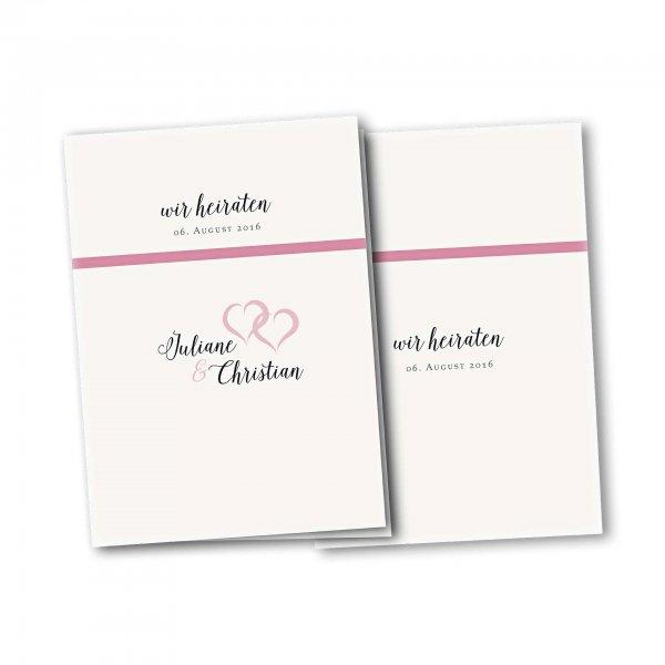 Einladungskarte – 4-Seiter DIN-A5 Kartendesign verkettete Herzen Version 2