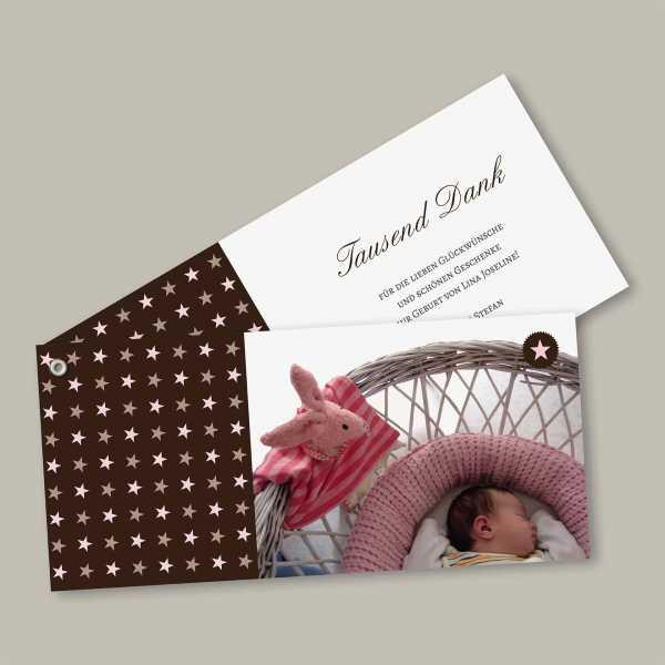Geburtskarte – Fächerkarte – 2-Blätter Fächerkarte zur Geburt in der Größe DIN-lang Querformat mit dem Design Lina Joseline