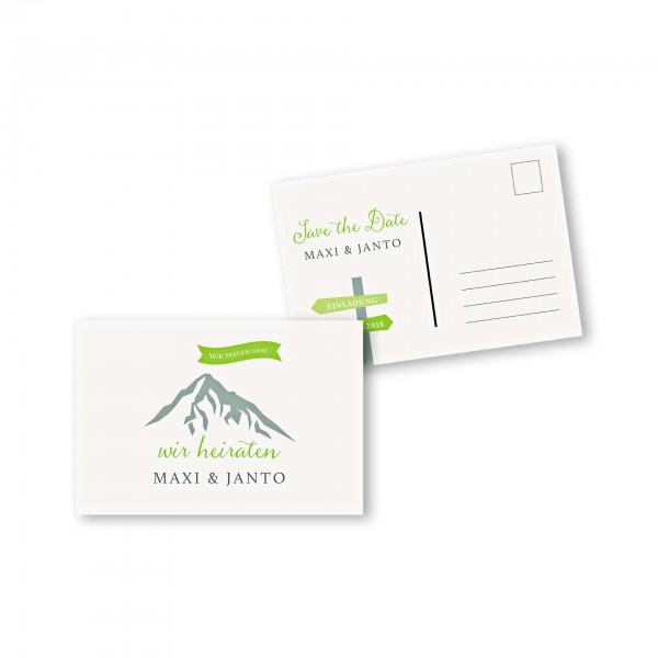 Save the Date Postkarte – 2-Seiter DIN-A6 Kartendesign Hochzeitsfeier in den Bergen