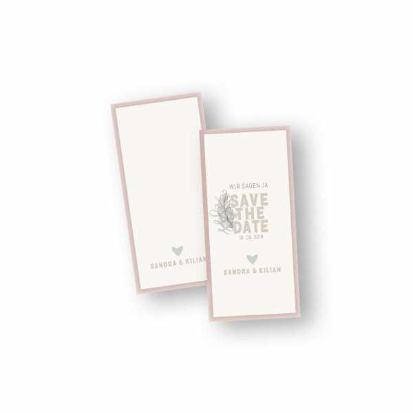Einladungskarten – Klappkarte – DIN-lang im Hochformat mit Kopffalz mit dem Design Save the Date & Feder