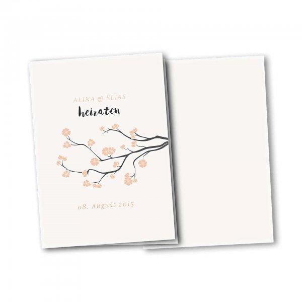 Einladungskarte – 4-Seiter DIN-A5 Kartendesign Baumblüte Version 2