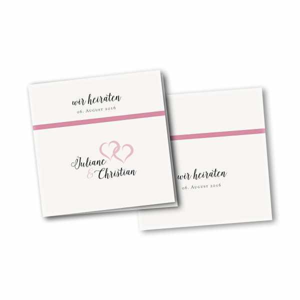 Einladungskarte – 4-Seiter quadratisch Kartendesign verkettete Herzen Version 2