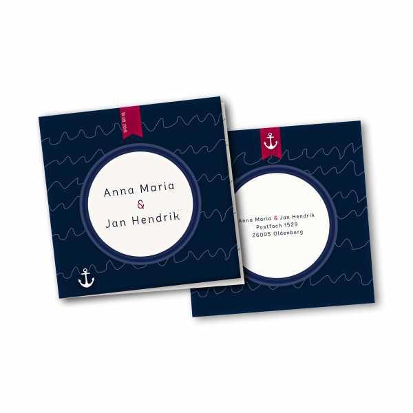 Einladungskarte – 4-Seiter quadratisch Kartendesign Maritime Hochzeitskarte mit Bullauge