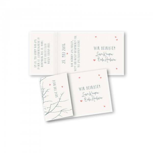 Save the Date Einklapperkarte – Klappkarte DIN-A6 Kartendesign Verliebt unter Birken