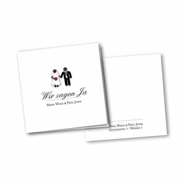 Einladungskarte – 4-Seiter quadratisch Kartendesign Traumpaar - Wir heiraten