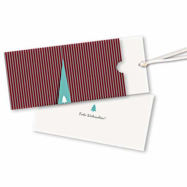 Weihnachtskarte – Schuberkarte DIN-lang mit Satinband Weihnachtsshow