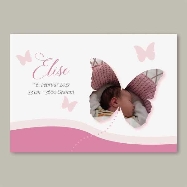 Geburtskarte – Klappkarte – 4-Seiter Klappkarte zur Geburt in der Größe DIN-A6 Querformat mit dem Design Elise