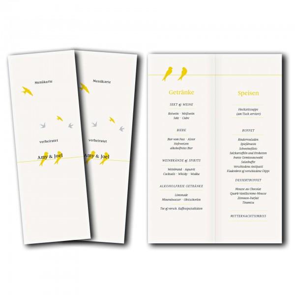 Menükarte – Kartendesign Verliebte Vögel