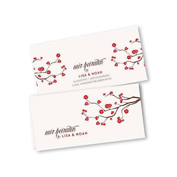 Einladungskarte – 4-Seiter DIN-lang Querformat Kopffalz Kartendesign Baumblüte