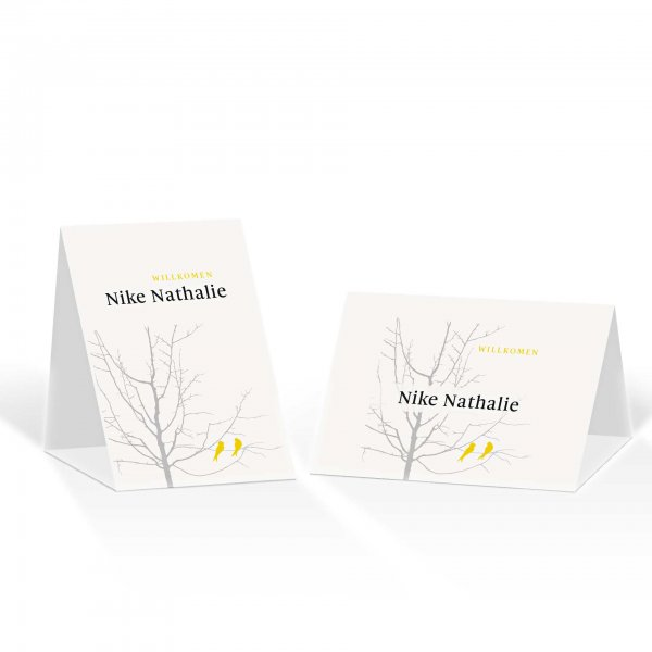 Platzkarte Aufsteller A6 – Kartendesign Verliebte Vögel im Baum