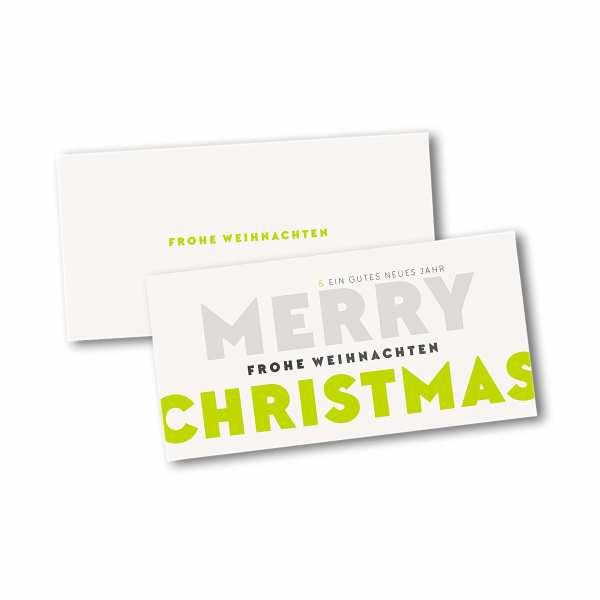 Weihnachtskarte – Klappkarte DIN-lang mit Kopffalz im Kartendesign Verspielte Typo