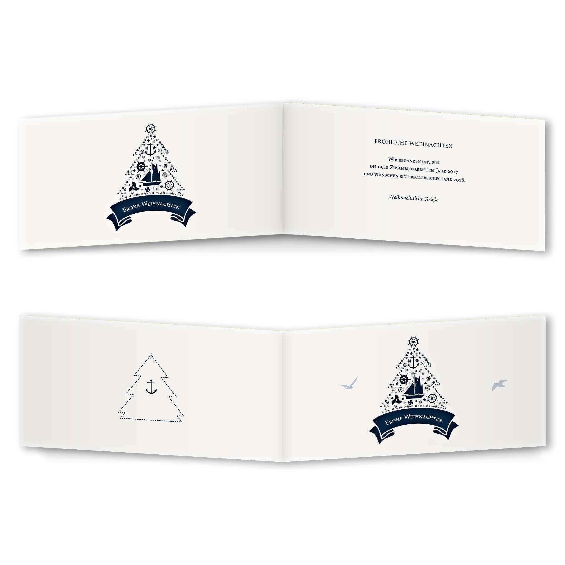 Weihnachtskarte Klappkarte Rückenfalz Design Maritime Weihnacht Version 2