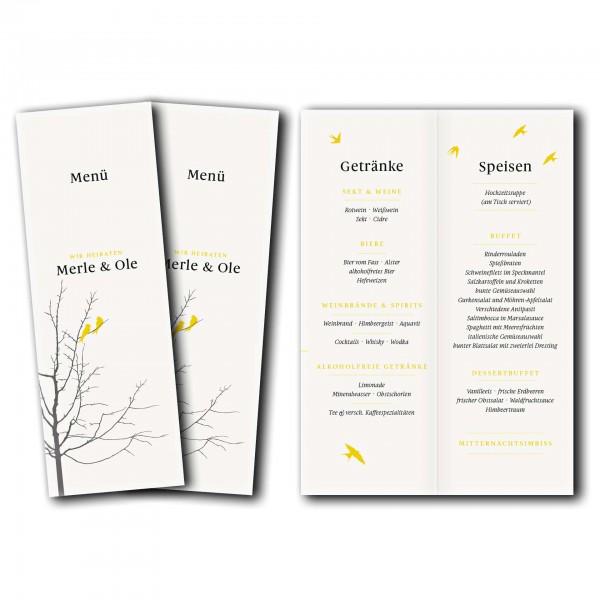 Menükarte – Kartendesign Verliebte Vögel im Baum