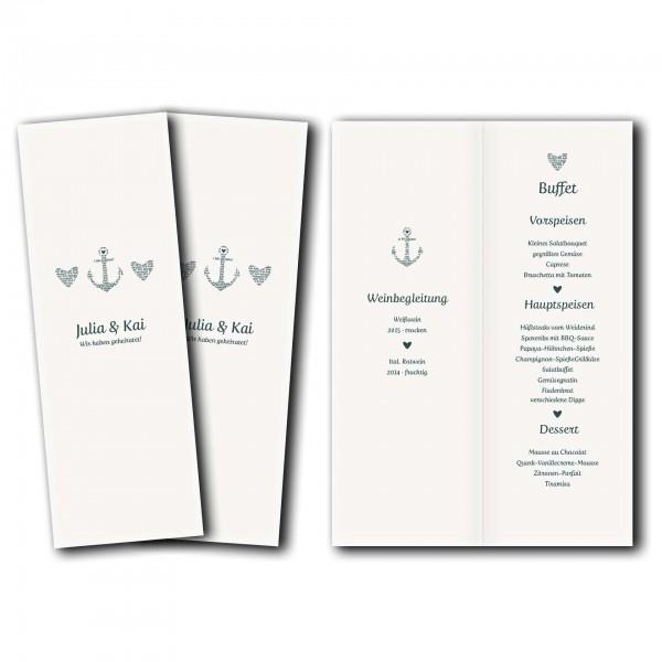 Menükarte – Kartendesign Anker kombiniert mit Typografie Version 2