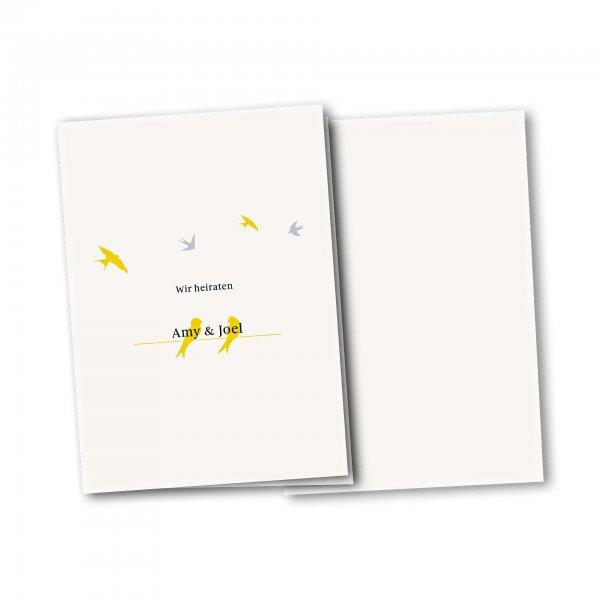 Einladungskarte – 4-Seiter DIN-A5 Kartendesign Verliebte Vögel