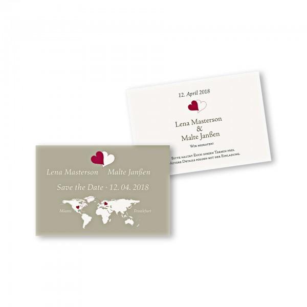 Save the Date flache Karte mit Umschlag – 2-Seiter DIN-A6 Kartendesign Herzentreffen Version 1