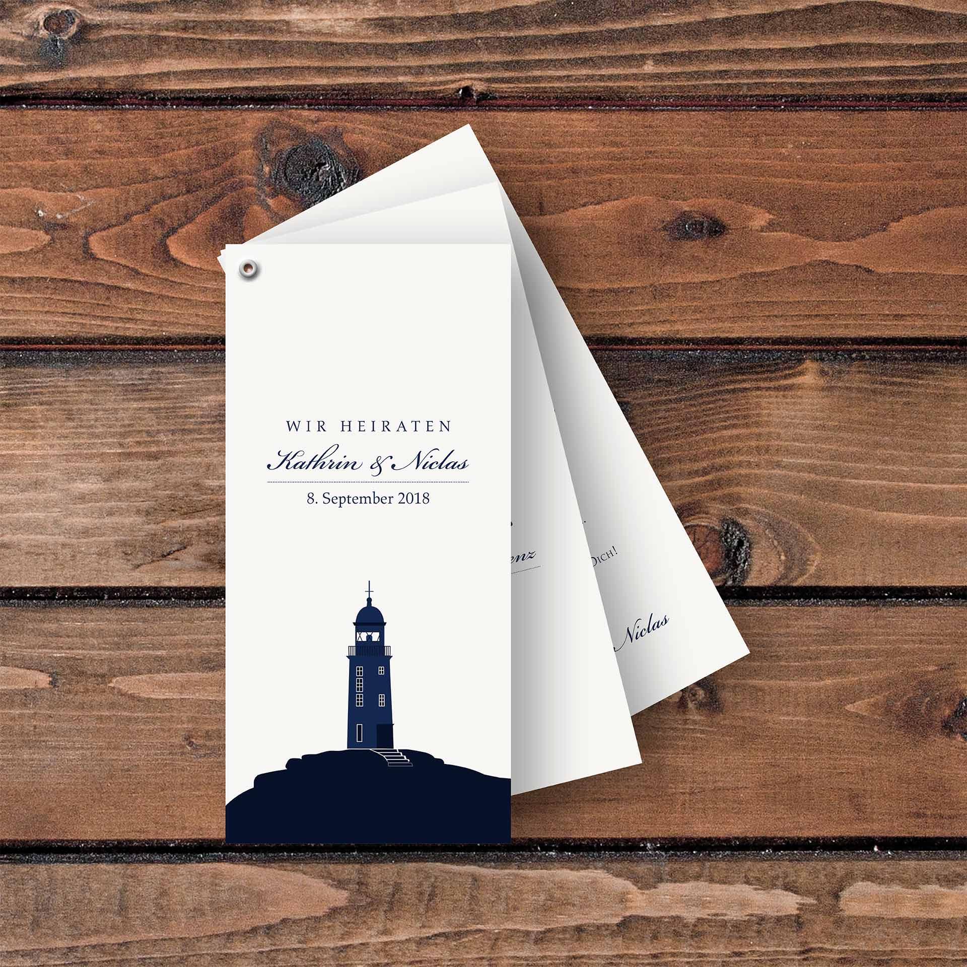 Einladungskarten Faecherkarten kleiner Leuchtturm